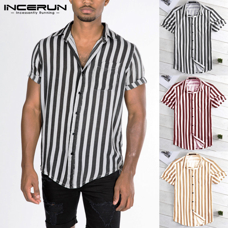 INCERUN 2019 Men Striped Shirt 34 Sleeve Button Casual Loose Brand Shirts Men Summer Camisa Masculina Couple Shirt Streetwear