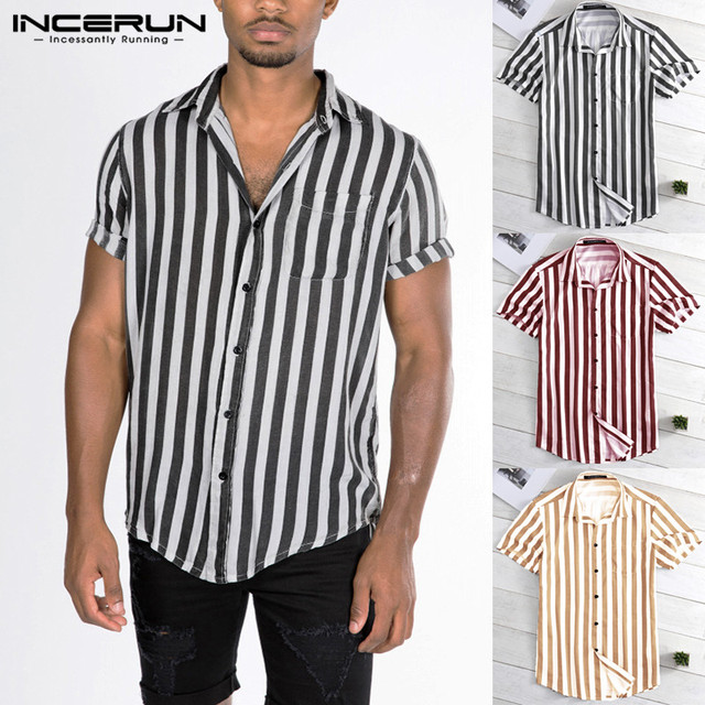 New Striped Shirt INCERUN 2019 Summer Male Clothing Loose Fit Turn Down Collar Button Short Sleeve Shirt Camisa Casual Tee Tops