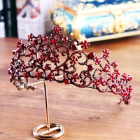 Red Crystal Tiara Crown Baroque Retro Princess Coronet Headband Hair Accessories Evening Party Women Headpiece Jewellery Costume