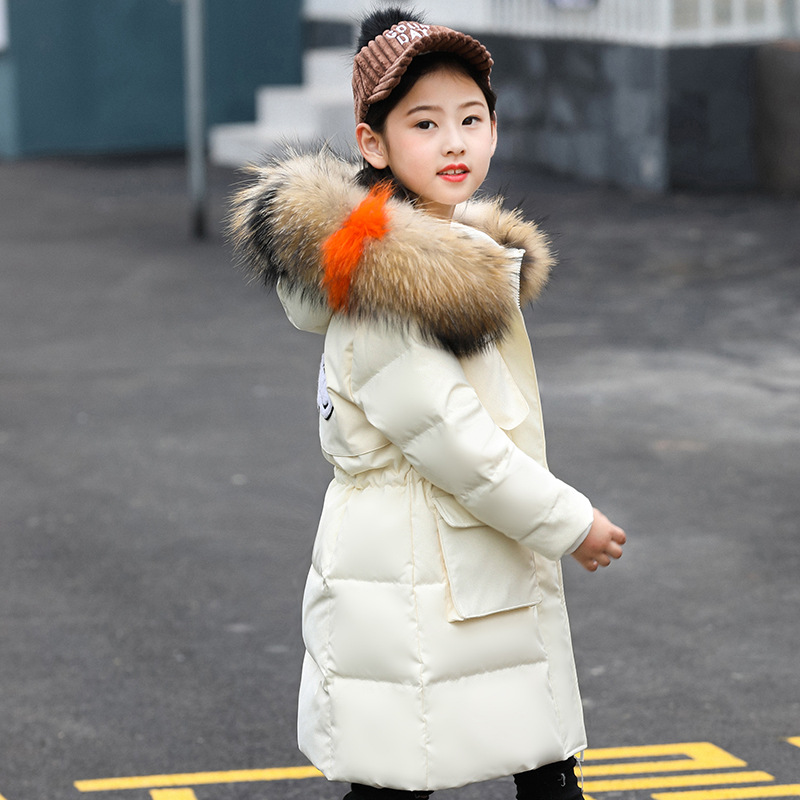Kids down jacket fashion girls long 2018 winter new Korean version of the thickening elegant kids winter jacket 2018 new korean version of shark hood children thickening cartoon for boy polyester down jacket with an anti wind cap