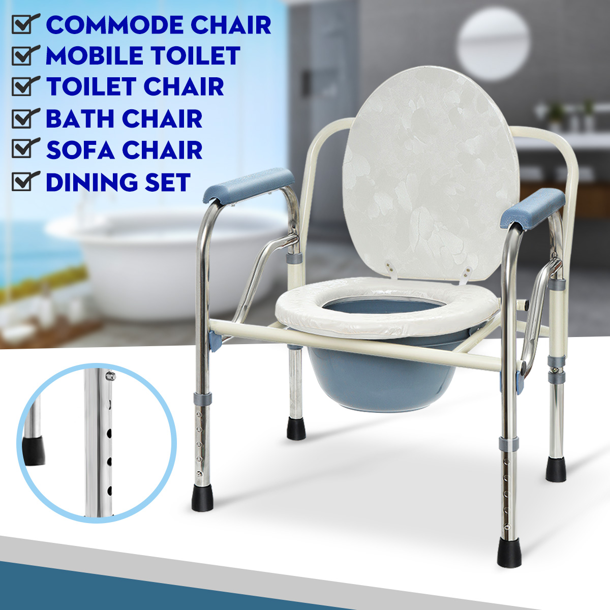 Shower Bathroom Seat Foldable Commode Toilet Safety Chair Bedside Adult Potty Removable Adjustable Height Lightweight DurableShower Bathroom Seat Foldable Commode Toilet Safety Chair Bedside Adult Potty Removable Adjustable Height Lightweight Durable