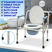Shower Bathroom Seat Foldable Commode Toilet Safety Chair Bedside Adult Potty Removable Adjustable Height Lightweight Durable
