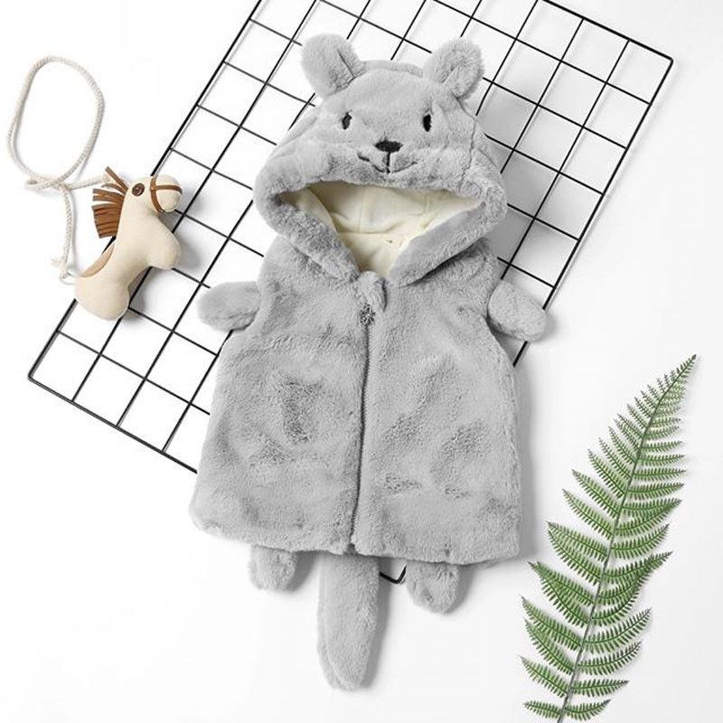 1-6y Herbst Winter Nettes Kind Baby Mädchen Jungen Warme Weste Outwear Pelz Cartoon Mit Kapuze Zipper Grau Warme Kleidung BüGeln Nicht