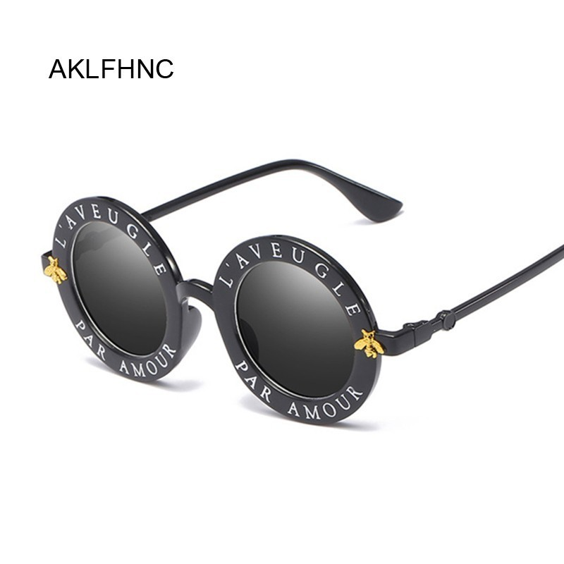 Retro Round Sunglasses English Letters Little Bee Sun Glasses Women Brand Glasses Designer Fashion Female Oculos De Sol