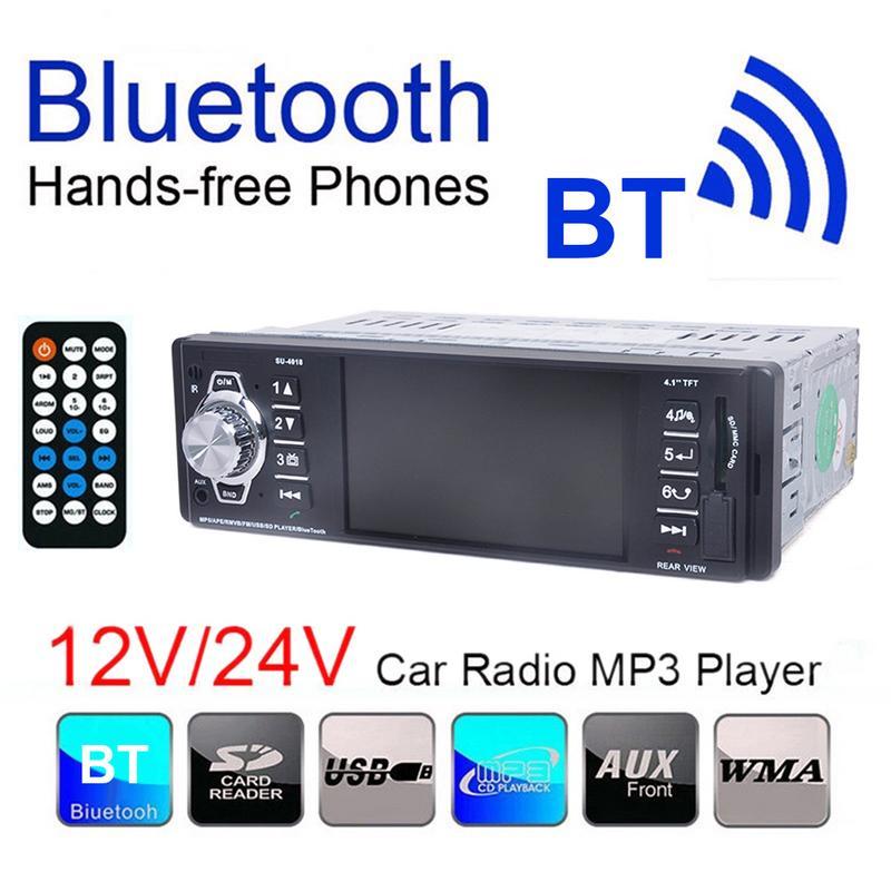 Récepteur Audio stéréo Bluetooth entrée FM Aux dans le tableau de bord lecteur Radio SD USB MP3 fonction de vue arrière lecteur de voiture