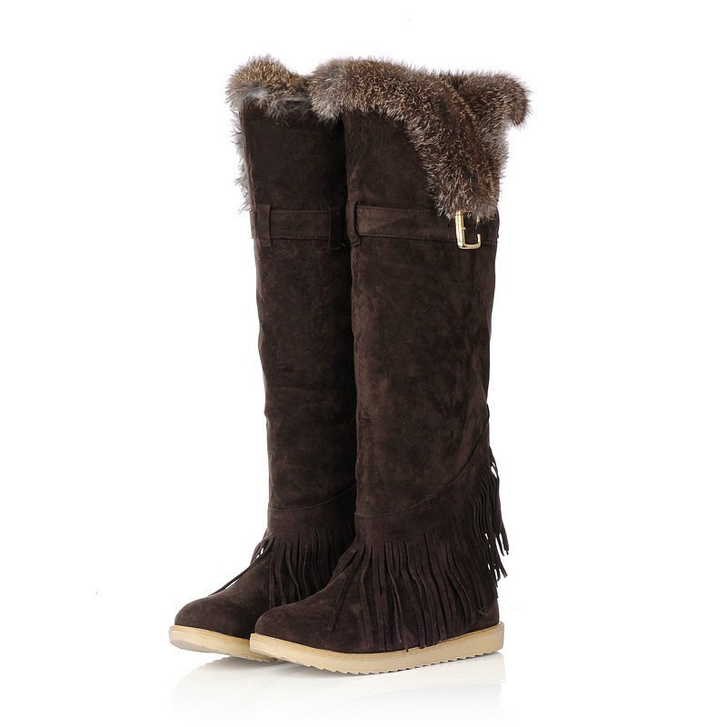606daa01947 VOGELLIA Fashion Faux Fur Snow Boots Women Flat Heel Over The Knee Boots  Winter Warm Female Tassel Thigh High Shoes 5 Colors