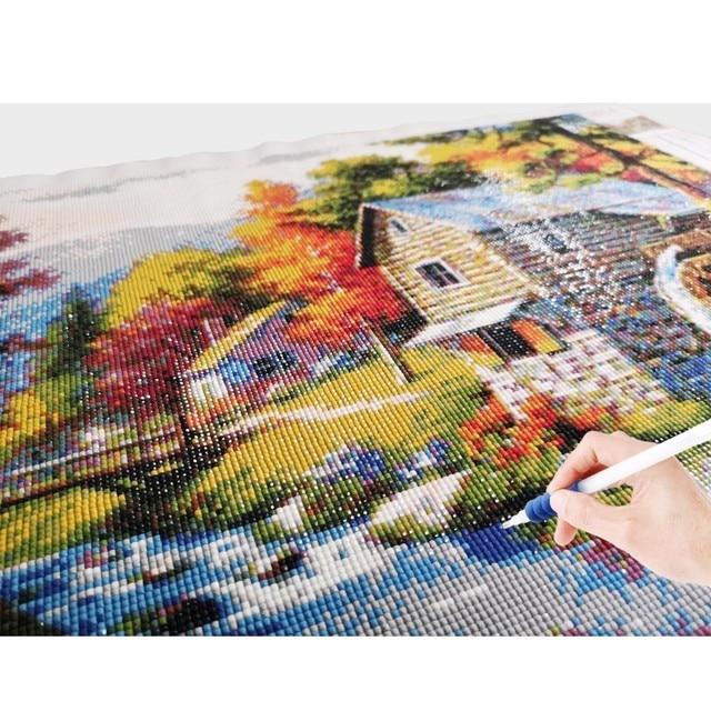 Huacan Diamond Embroidery Landscape Handmade Diamond Painting Village Needlework Mosaic Cross Stitch Home Decor