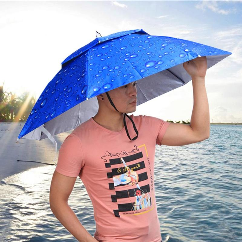 2 Layer Folding Wind Proof Headwear Umbrella Hat Cap Rain Gear For Fishing Hiking Beach Camping Outdoor Sports Fish Pesca Tools
