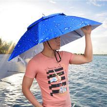 2 Layer Folding Wind Proof Headwear Umbrella Hat Cap Rain Gear for Fishing Hiking Beach