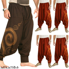 New Hip Hop Aladdin Hmong Baggy Cotton Linen Harem Pants Men Women Plus Size Wide Leg Trousers Boho Casual Cross-pants