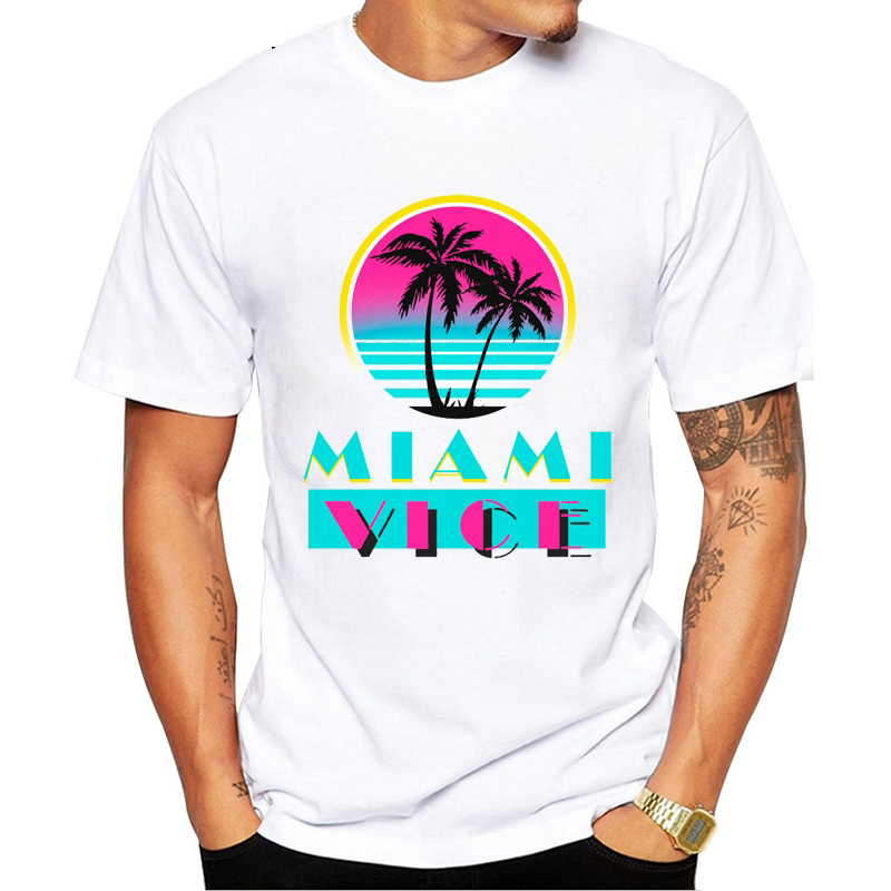 2019 New Miami Vice T-Shirts Men Women Hip Hop T Shirt High Quality Tops Creative T Shirt Vaporwave Aesthetic Clothes