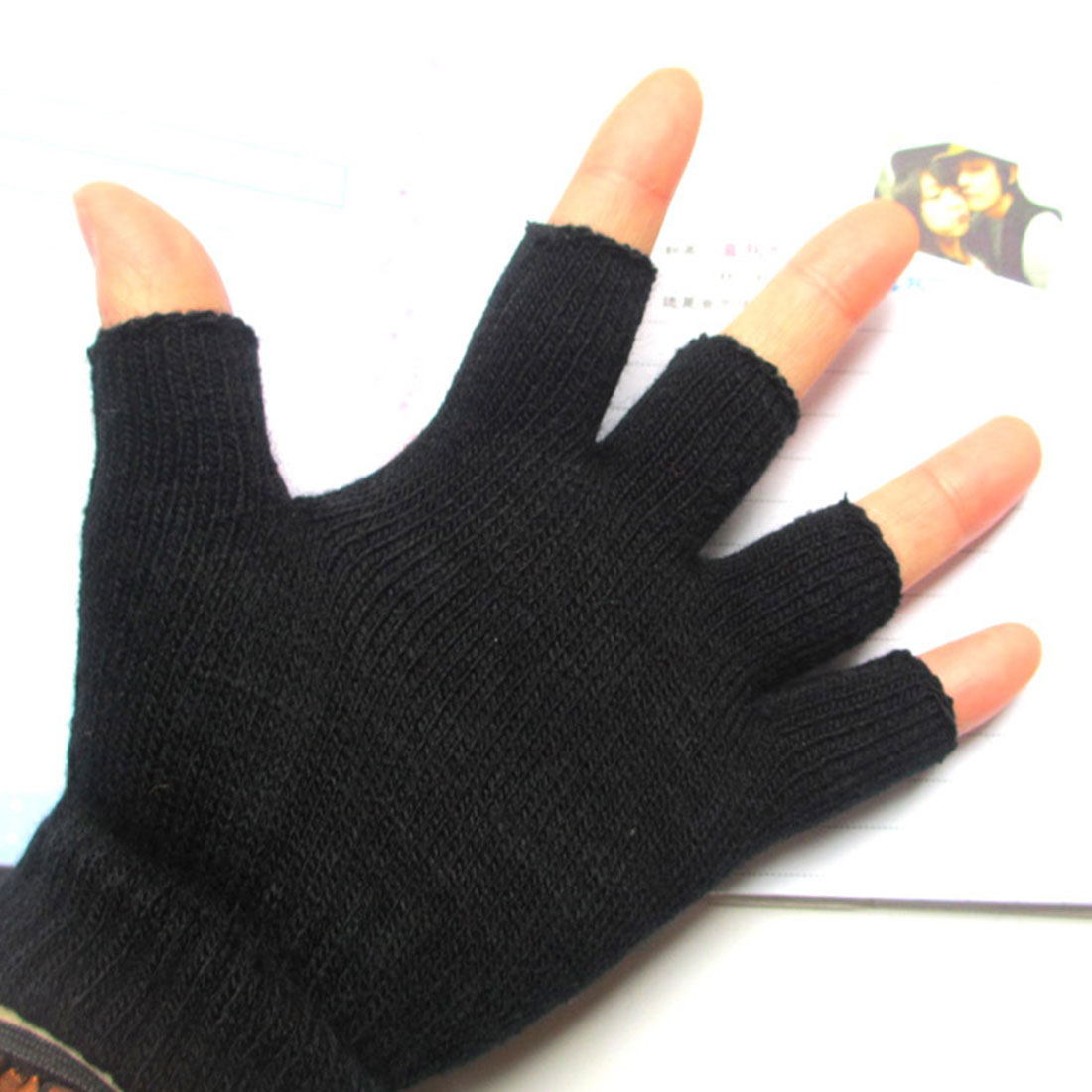 Fashion Warm Half Finger Gloves Knit Men's Fingerless Gloves Computer Learning Gloves Casual Fashion Autumn And Winter
