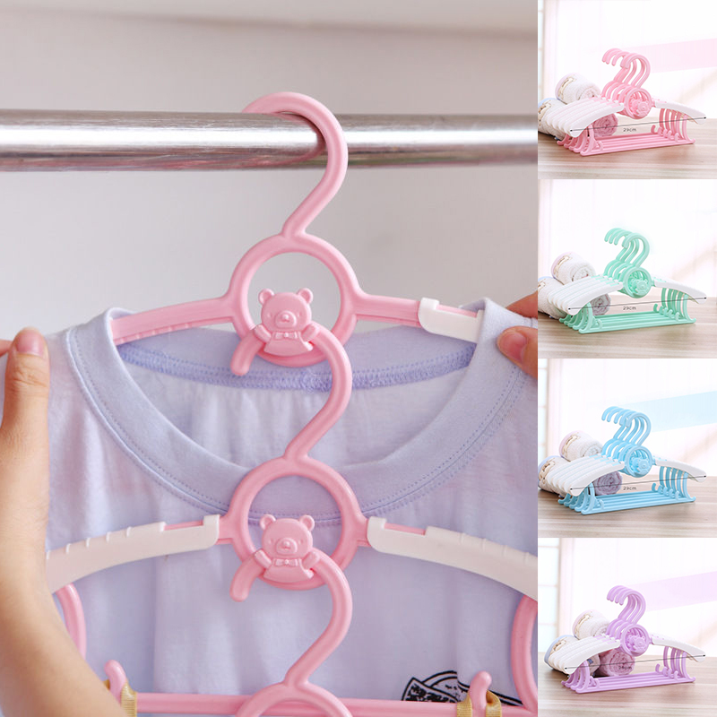 Baby Child Newborn Plastic Coat Clothes Hangers Cute Cartoon Adjustable Hangers 4 Color