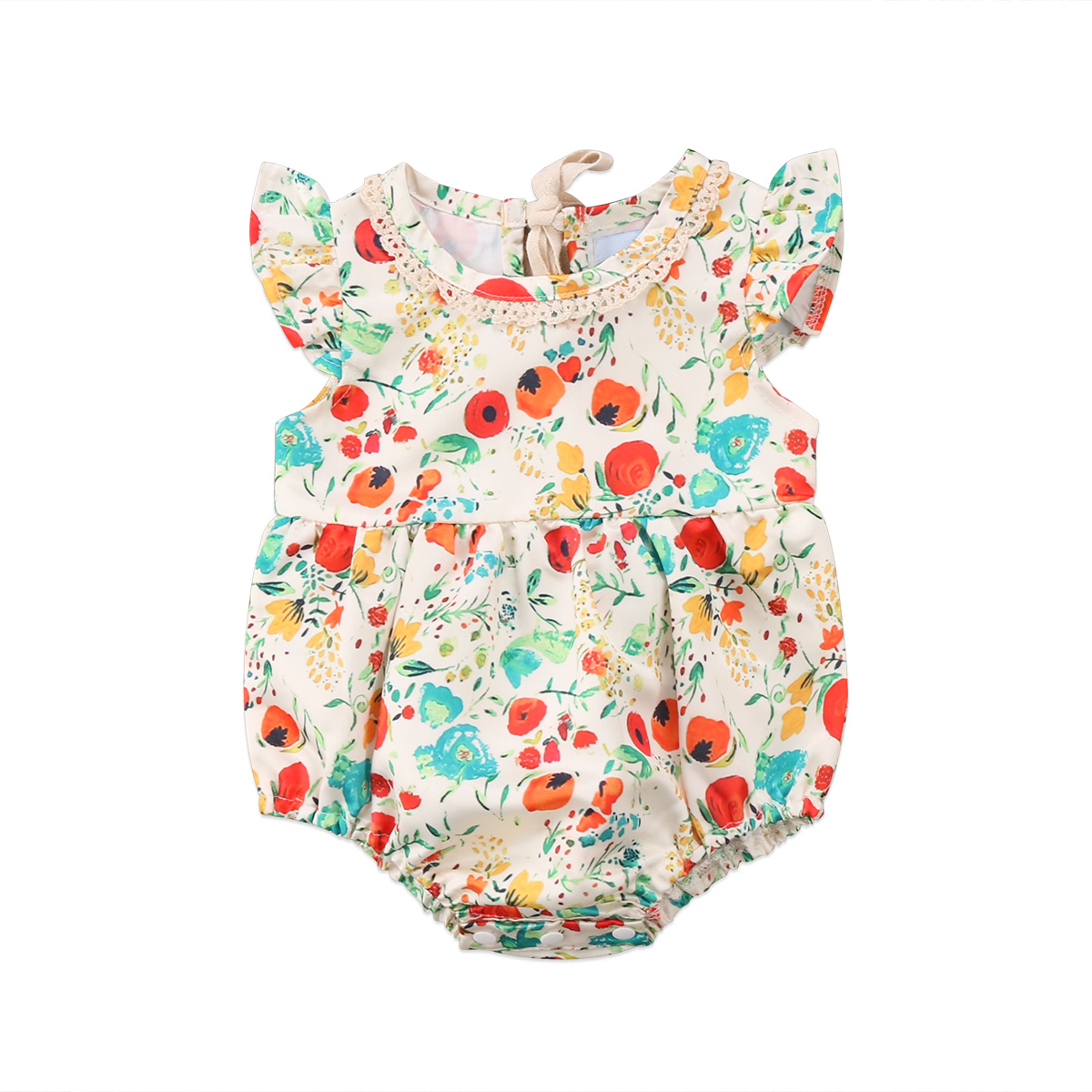0-24M Cute Newborn Baby Girl Ruffles Sleeveless Floral   Romper   Jumpsuit Outfits Summer Sunsuit Clothes