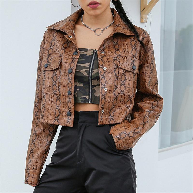 Fashion snake print faux leather jacket cropped snakeskin female jacket coat autumn winter 2018 basic jackets outwear pu leather