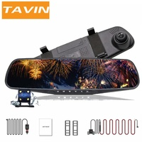 TAVIN Car dvr Full HD 1080P Dash cam 4.3 inch Rearview mirror camera Video Recorder Dual lens Registratory Camcorder autocamera