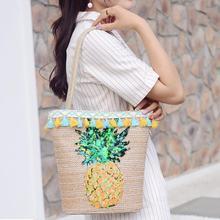 Fashion Pineapple Print Bohemian Bag Beach Water Bucket Straw Handmade Pattern Rattan-made Single-shoulder Bags