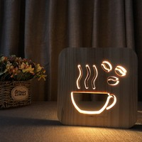 Creative Art Wooden Light Coffee Lamp For Living Room Bedroom Bookcase Indoor Restaurant Lights Cafe Shop Decorative Led Lamp