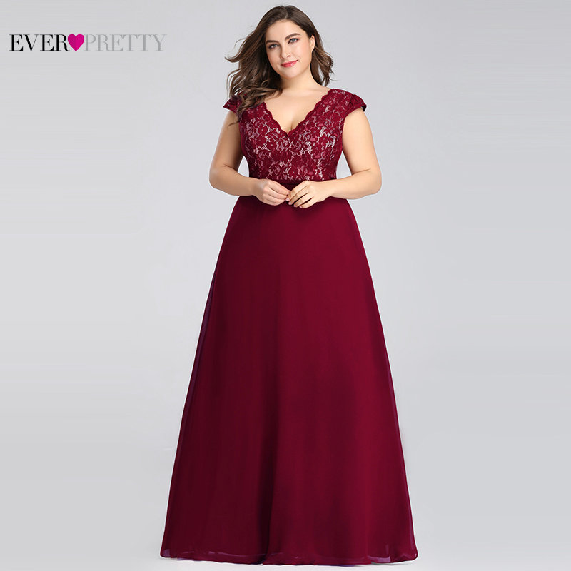 Plus Size   Prom     Dresses   Long 2019 Ever Pretty EP07344 Elegant Burgundy A-line Sleeveless Lace Appliques V-neck Vestidos De Gala