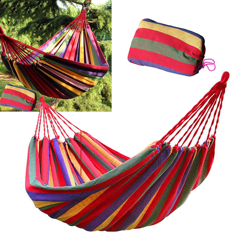 280x80cm Portable Hammock Swing Fabric Camping Outdoor Garden Hammock Hanging Bed for Travel Camping Hiking
