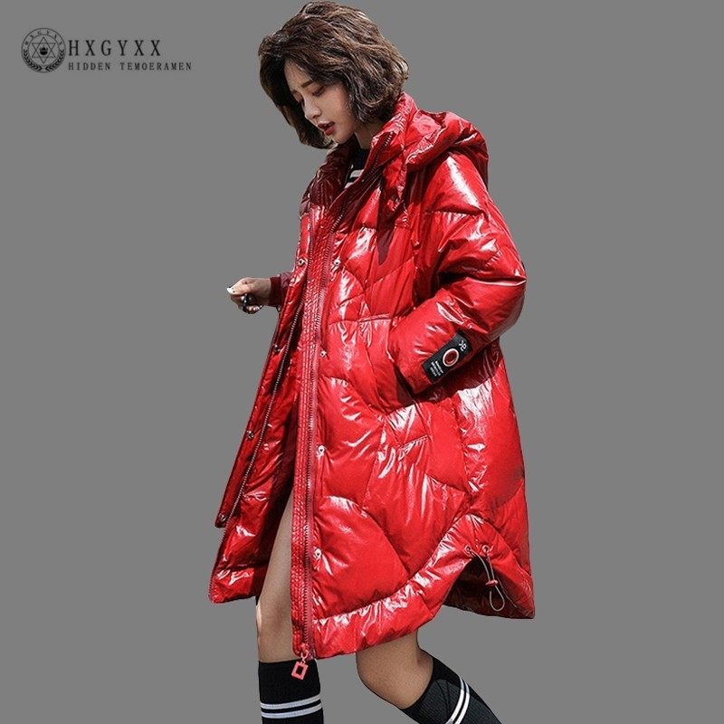 Red Long Goose Feather Jacket Women 2018 Loose Thick White Duck   Down     Coat   Winter Casual Harajuku Parka Warm Outerwear Okd639