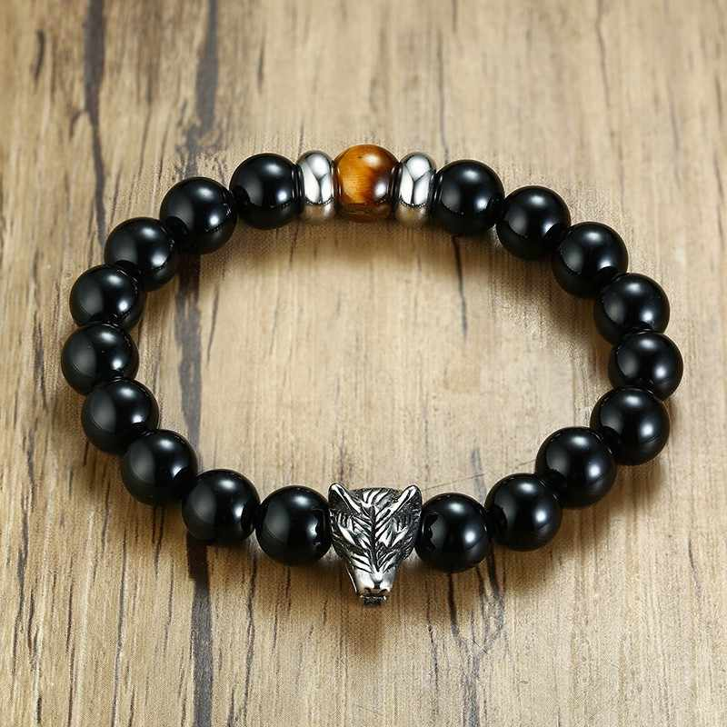 Carnelian Beaded Bracelet For Men Ancient Silver Wolf Head With Tiger Eye Stone Accessories Male Bangle Hot Dropshipping