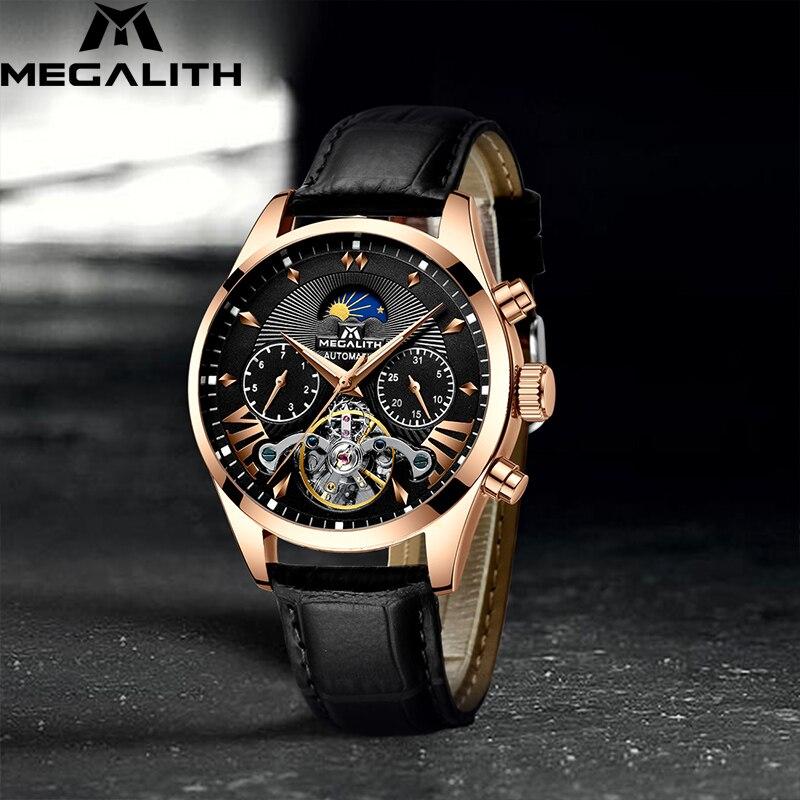 MEGALITH hommes montres automatique mécanique montre de mode affaires montre hommes en cuir noir étanche Sport hommes montres