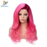 Sevengirls Glueless мокрой и волнистые Омбре фиолетовый/розовый перуанский полный кружева парики человеческих волос с ребенком волос Девы человече