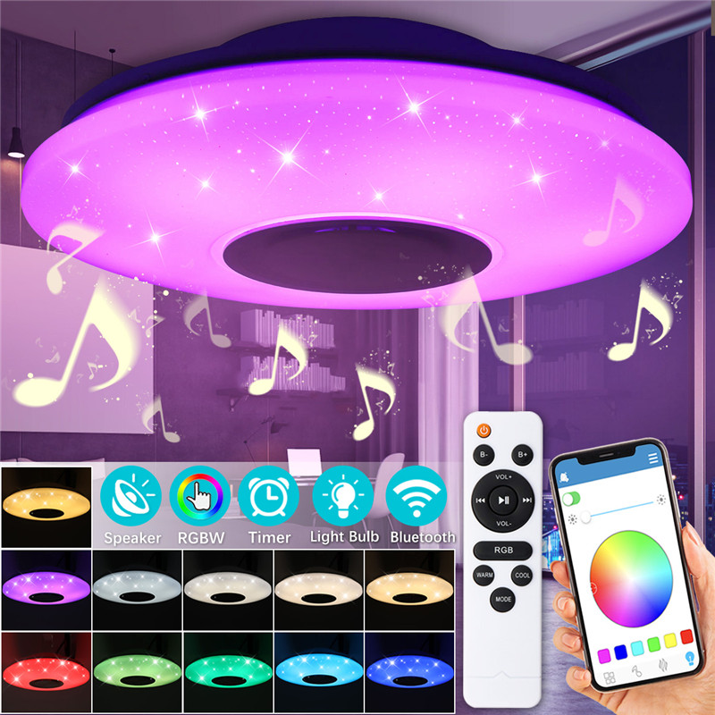 RGB Dimmable Music ceiling lamp APP control 60W 102led Lamp AC180-240V for home children bluetooth speaker lighting FixtureRGB Dimmable Music ceiling lamp APP control 60W 102led Lamp AC180-240V for home children bluetooth speaker lighting Fixture