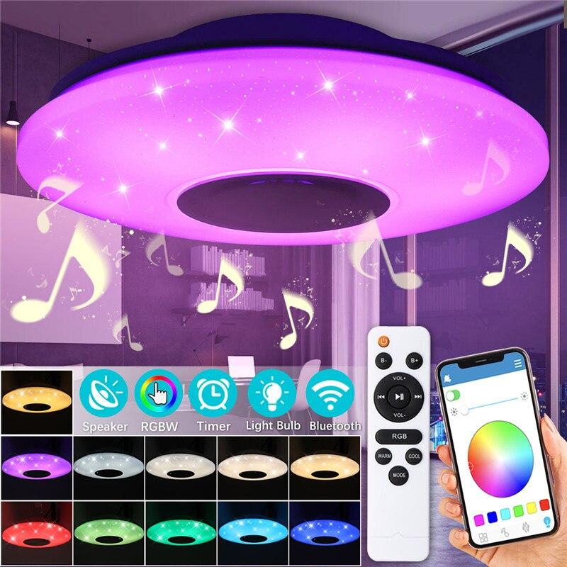 RGB Dimmable Musique plafond lampe APP contrôle 60 w 102led Lampe AC180-240V pour la maison enfants bluetooth haut-parleur luminaire
