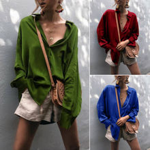 New UK Women V Neck Casual Silk Tops Long Sleeve Button Loose Ladies Shirt Blouse