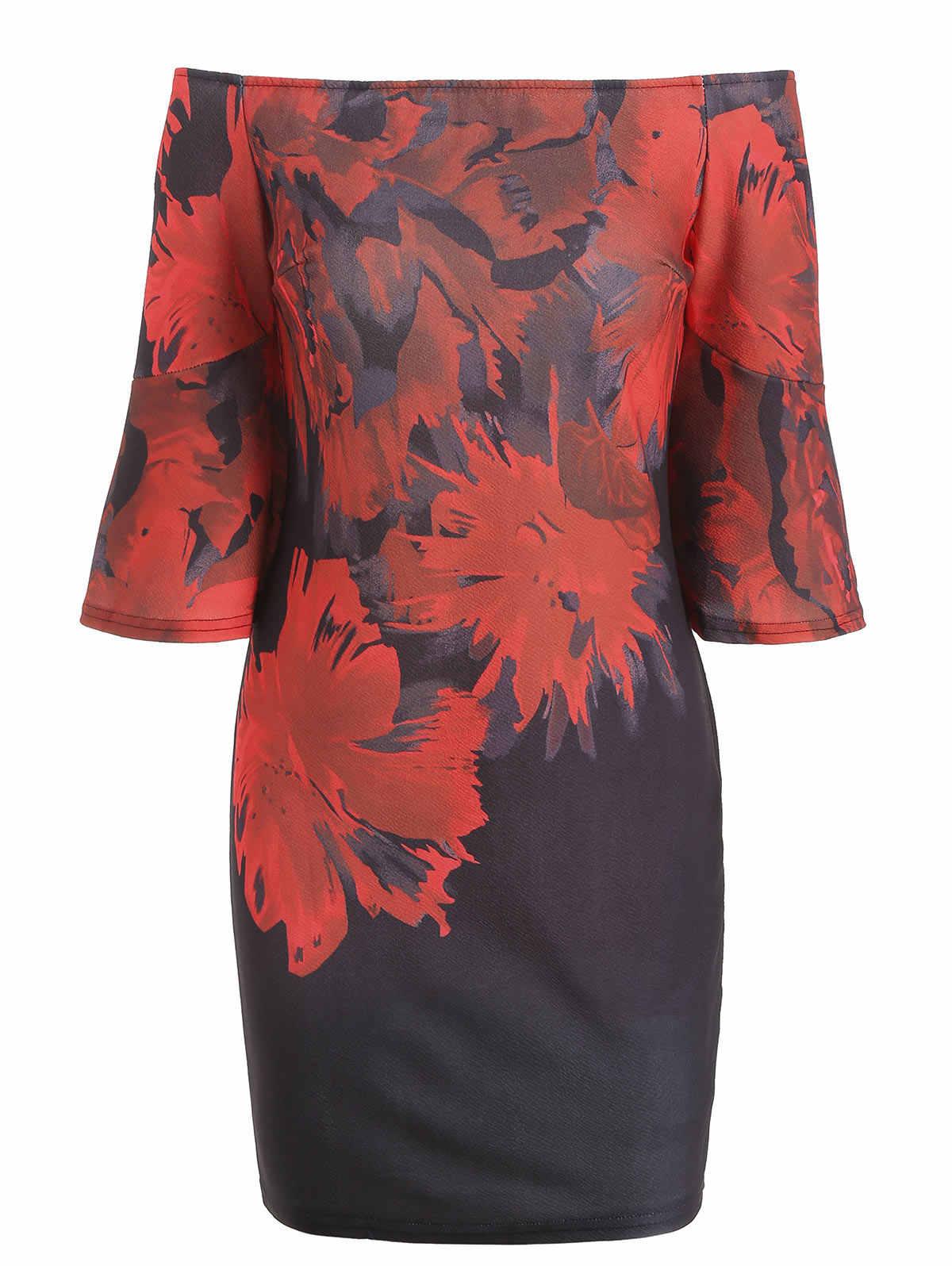 Wisalo цветочные с открытыми плечами с расклешенными рукавами женская одежда Лето Slash шеи 3/4 Длина рукава Оболочка Bodycon вечернее платье vestidos