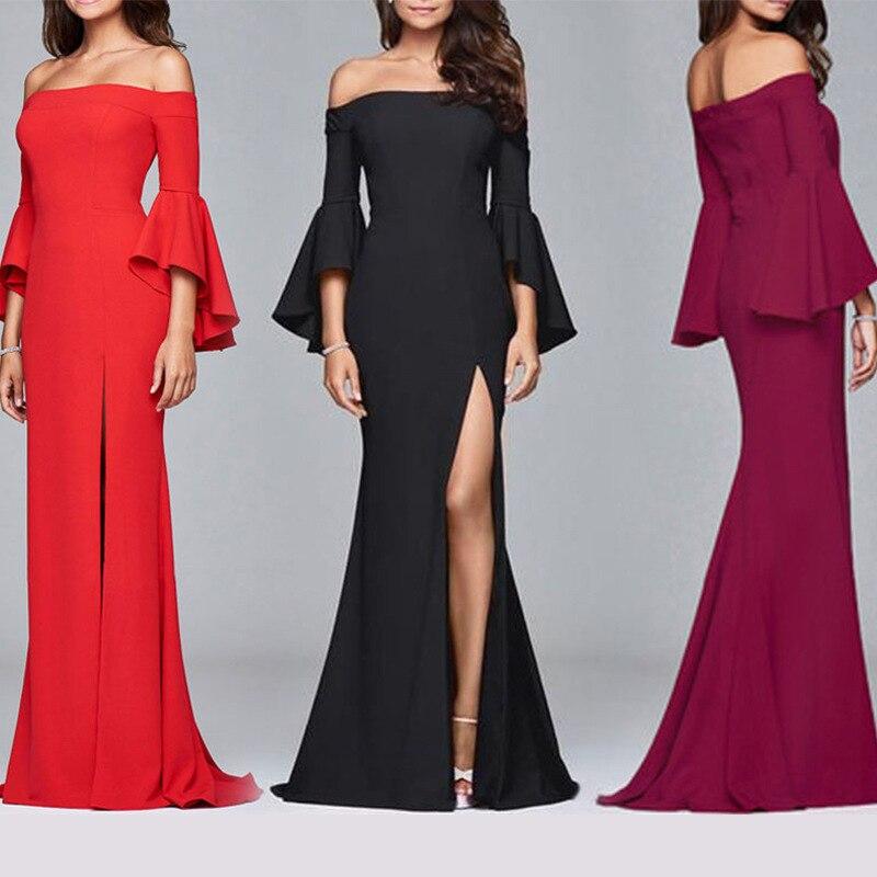 Off Shoulder Satin Women Dress for Evening Party Elegant Butterfly Sleeve High Split Sexy Silky Dress Floor Length Club Dress