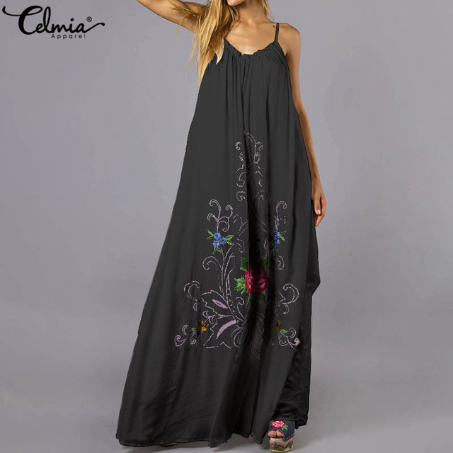 dfcf9d6ebfc5 Celmia Bohemian mujer Maxi vestido largo 2019 verano Sexy correas espalda  descubierta flor estampado suelto playa Fiesta Vestidos talla grande
