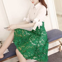 2019 Summer Embroidery Lace Mid Dress Women Elegant Bow Long Shirts High Waist A-line Party Dresses