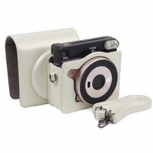 Image 3 - FUJIFILM Instax כיכר SQ6 מצלמה תיק 4 צבעים Vintage עור מפוצל מקרה כתף רצועת פאוץ לשאת כיסוי הגנה