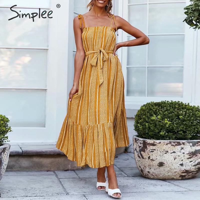 Simplee богемное Полосатое женское хлопковое льняное платье Элегантное летнее платье с поясом на бретелях пляжное стильное гофрированное жен...