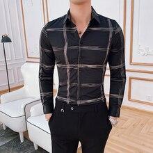 2019 printemps motif treillis imprimé chemise Baroque coupe ajustée fête Club chemise hommes Camisa Homem homme chemise Camisa Masculina vêtements