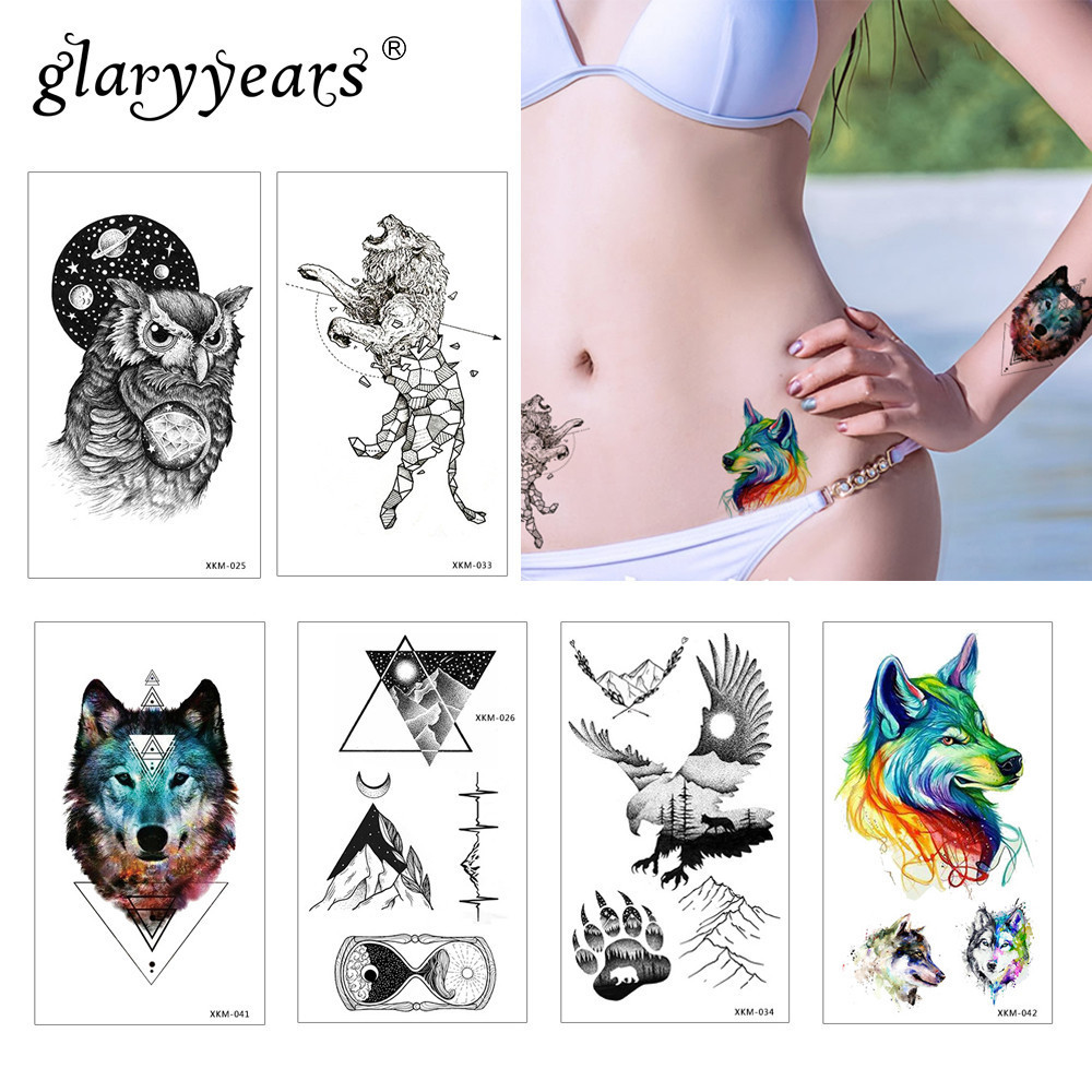 Glaryyears 1 Sheet Temporary Tattoo Sticker Colorful Fake Tatoo Lion Flash Tatto Waterproof Small Body Art Men Women 20 Designs