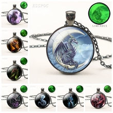 Dragon Pendant Luminous Necklace Fashion Glass Dome Black Chain Glow In The Dark Jewelry Handmade Gift for Men
