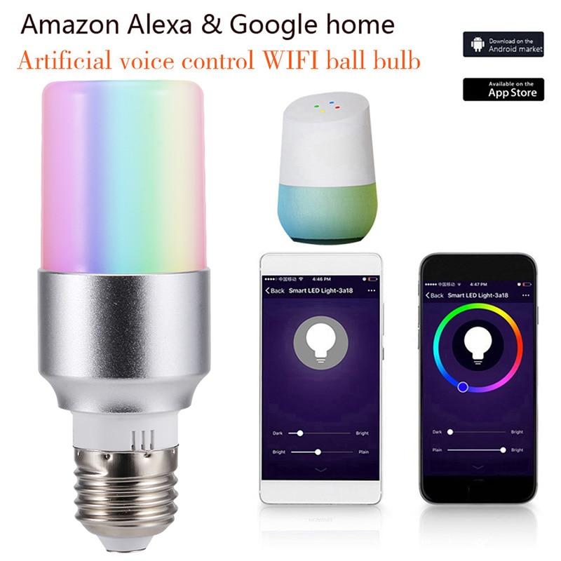 E27 B22 E14 Smart WiFi Light Bulb LED Lamp APP Remote Control 7W RGB Magic Light Bulb Connect With Amazon Alexa Google
