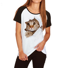 Charmed 3D cat Print Casual Harajuku Women T-Shirt Summer Short sleeve Casual Round neck Cheap Clothes Tops tee shirt female