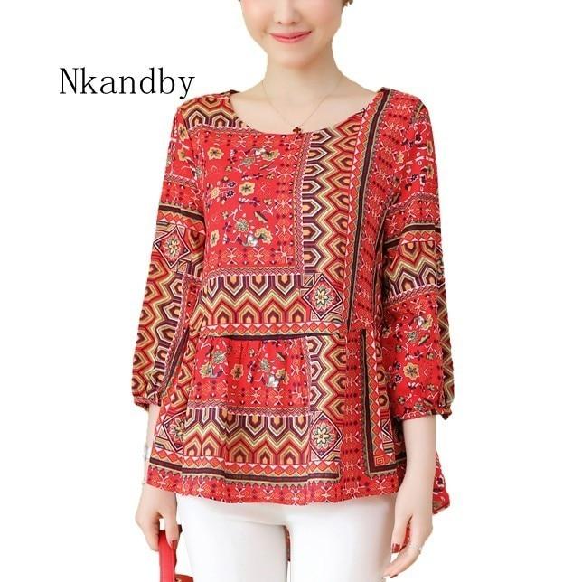 Women's Clothing Nkandby Plus Size Womens Blouses 2019 Spring Summer Chinese Style Front Short Chiffon Shirt Long Sleeve Tops 5xl Camisa Feminina