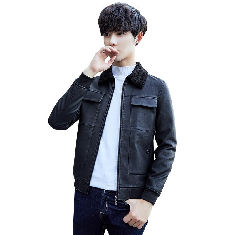 Autumn Winter Leather Coat Men Fashion Fleece Warm Windbreaker PU Leather Jacket Men Stand Collar Faux