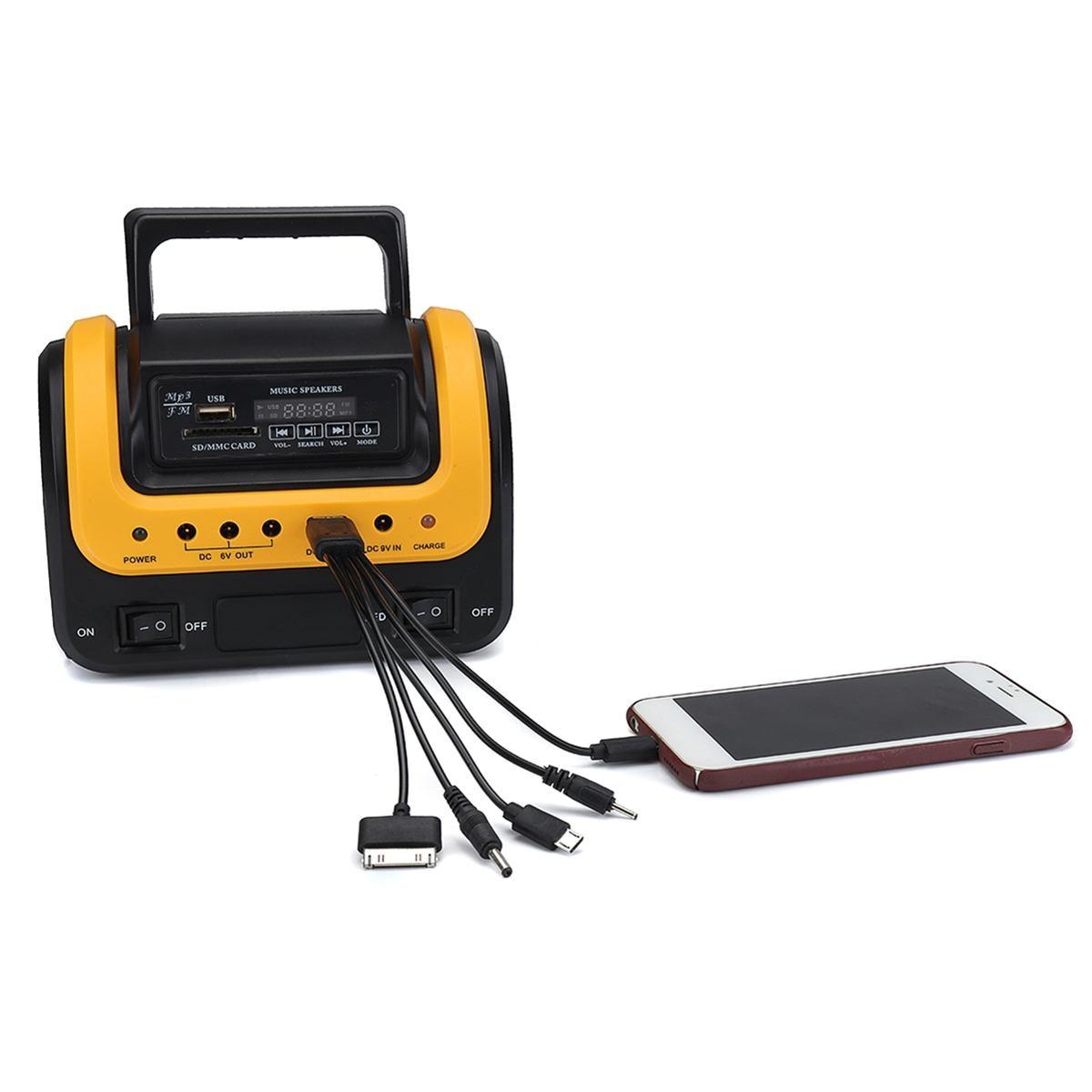 Tragbare Solar Panel Power Generator LED Beleuchtung System Kit MP3 Taschenlampe USB Ladegerät 3 Led-lampen Im Freien Notfall Power