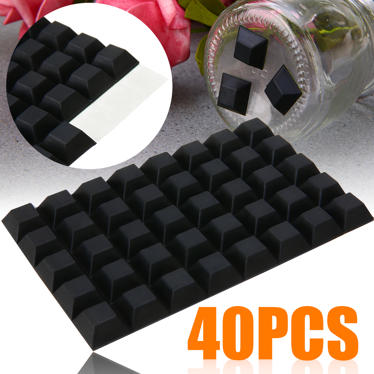40pcs Self-Adhesive Rubber Bumper Stop Non-slip Feet Door Buffer Pads Wall Protectors Door Stopper For Furniture Accessory Black