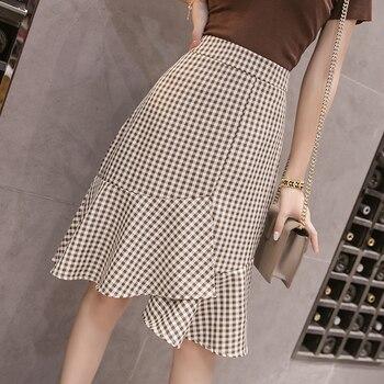 sequined high low hem fish tail skirt Women Vintage Plaid Skirt 2019 Spring Summer Fish Tail Skirts Bodycon Office Skirts High Waist Black&White Ruffles Skirt