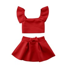 b67d527c4bdc 2Pcs Newborn Kids Baby Girl Red Off Shoulder Fly Sleeve Crop Top+Bow Knot Skirt  Outfits Clothes Set