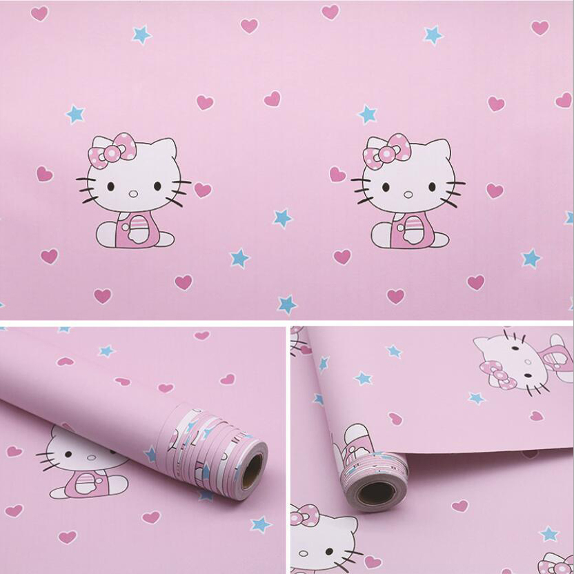 Cute Lovely Pink Hello Kitty Wallpaper Waterproof Self Adhesive Pvc Wallpapers Kids Rooms Baby Girls Bedroom Wall Paper Ez023