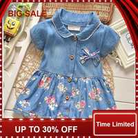 Summer Leisure Style Children Girls Flower Jean Dress Baby Girls Cute Bow Denim Dress Kid Lapel Fashion Dress